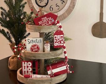 BUNDLE // Christmas Tier Tray Decor // Christmas Signs // Tier Tray Decor // Christmas Tiered Tray Decorations // Mini Christmas Decor