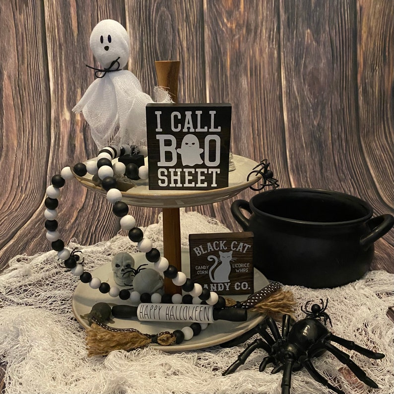 Tier Tray Signs  Fall Signs  Fall Decor  Wood Signs Tiered Tray Decor  Seasonal  Halloween Signs