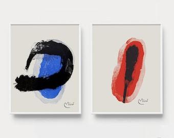 Joan Miro Poster, Set of 2 Joan Miro Art Print, Abstract Wall Art, Modern Art Print Set, Digital Download, Blue Art Print, Red Wall Art