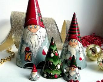 Large Christmas Gnomes Holiday Decor Gnome Figurine Swedish Christmas, Scandinavian Christmas Gnome Decor, Nordic Gnome Wooden Nesting Doll