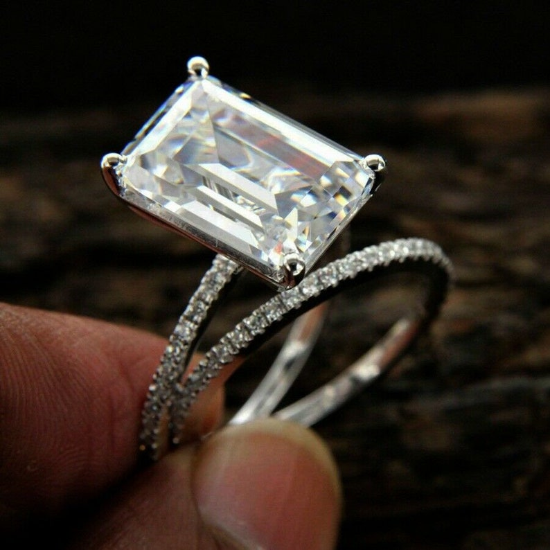 6 TCW Emerald Cut White D Color Solitaire Wedding Ring Set Solid 14K White Gold Solitaire Ring With Band Silver Ring Emerald Diamond Ring