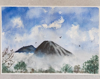 Mount Prau | Misfits Collection | 6.25 x 9 Painting | Watercolor Painting