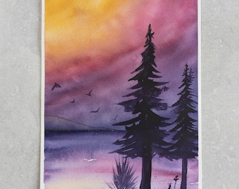 Sunsets and Silhouettes II | Misfits Collection | 6.25 x 9 Original Watercolor Painting