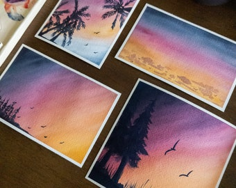 Sunsets and Silhouettes I | Original Sunset Landscape Watercolor Painting