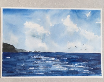 Ocean Skies | Misfits Collection | 6.25 x 9 Painting | Watercolor Painting