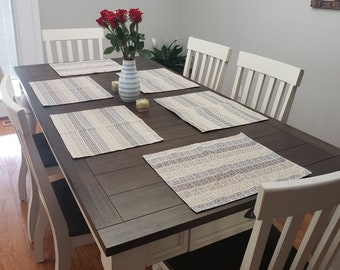 Diamond Block Placemats, Wrinkle Free Placemats, Greystone Placemats, Multi Color Placemats, Beige Placemats, Washable Placemats
