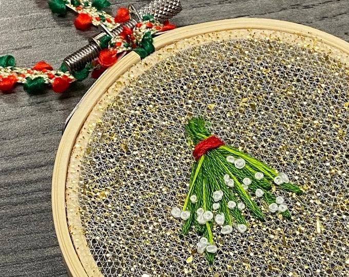 Glitter Mistletoe Christmas Ornaments - Holiday Handmade Gift - Christmas Tree Home Decor - Holiday Gifts - Sparkly Christmas Ornament