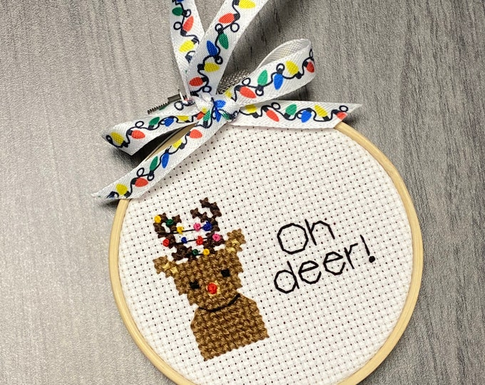 Oh Deer Christmas Ornament - Rudolph the Reindeer Design - Holiday Handmade Gift - Christmas Tree Home Decor - Holiday Gifts & Ornament