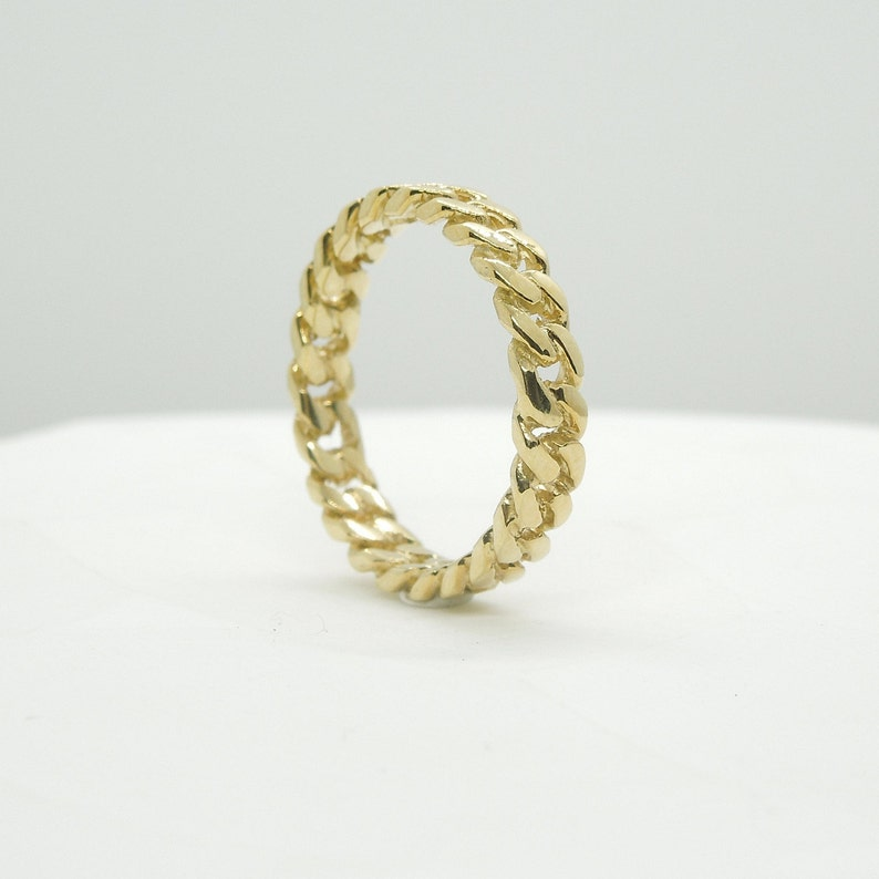 Gold Statement Ring 18K Yellow Gold Cuban Link Ring Cuban Link Cuban Chain Ring Gold Wedding Band Gold Chain Ring Gold Stacking Ring