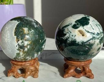 Moss Agate Sphere / 63 mm Sphere / Crystal sphere