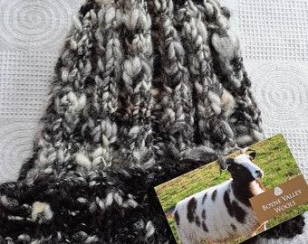 Hand spun hand knit hat made with jacob sheep wool 100% waterproof