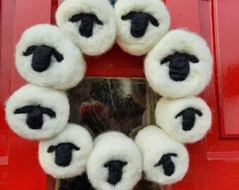 Christmas sheep wreath