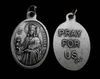 St Saint BARBARA- Saint Charm - Patron Saint Medal- Patron Gift - Catholic Jewelry- Our Lady Holy Medal Patron, St Barbara, Made in Italy!