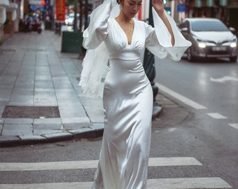 Vintage Silk Wedding Dress -Butterfly Hand Silk Dress - Handmade Wedding Dress - Unique Wedding Dress - Bridal Gown -Open Back Wedding Dress