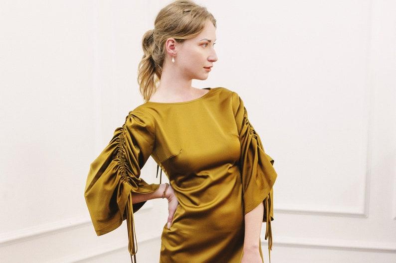 Minimalist dress Champagne dress Gift For Easter Mini boho dress Silk dress women Silk mini party dress Silk cocktail dress