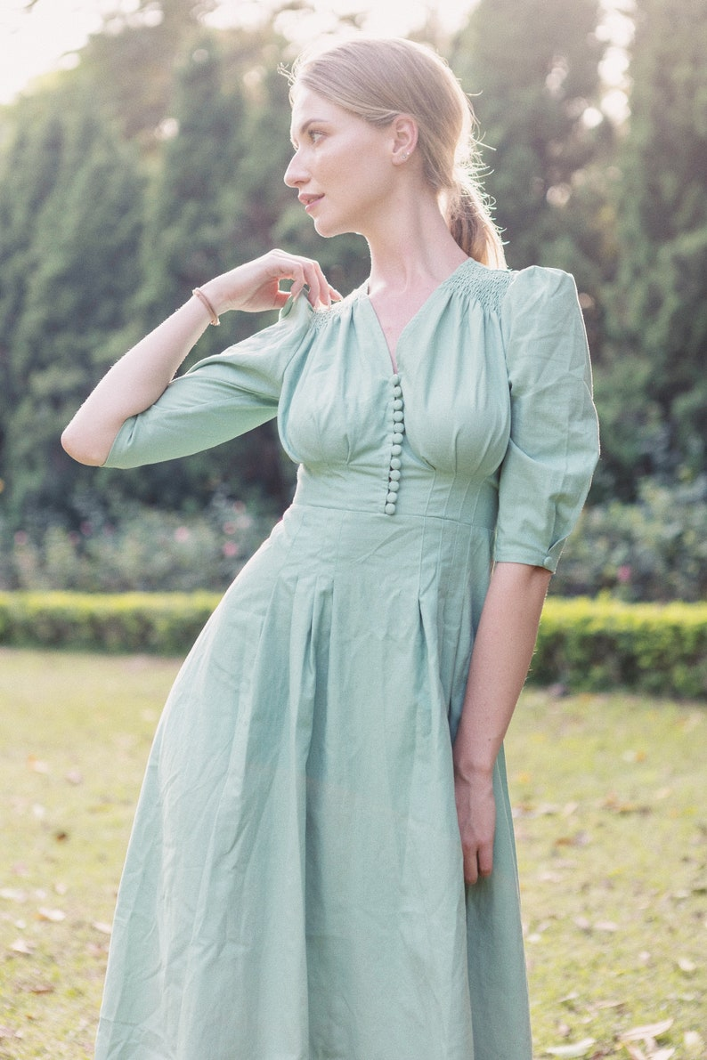 1980s Clothing, Fashion | 80s Style Clothes Linen dress - Vintage 80s dress - Linen midi dress - Linen midi dress - Linen dress women - Low back dress - Long dress - Mother Day Gift $99.44 AT vintagedancer.com