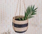 Seagrass Hanging Planter, Woven Basket, Black Stripes Basket, Scandi Boho Basket