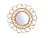 Rattan Mirror Medium, Round Wall Mirror, Boho Style Mirror
