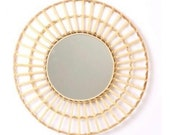 Rattan Mirror, Round Wall Mirror, Boho Style Mirror, Available in 2 Sizes