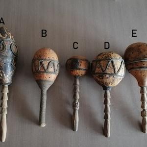 African Gourd Shaker Rattle Cowrie Shell Kenya Figure Gourd Rattle