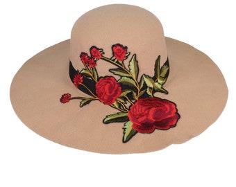 Red Sakura Butterfly Floppy Brim Navy Fedora Wide Brim Cotton Blend Felt Hat