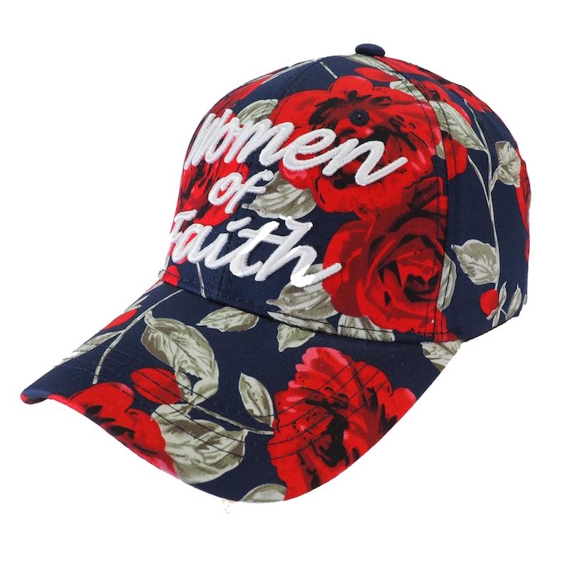 Women of Faith Floral Design Navy Baseball Cap