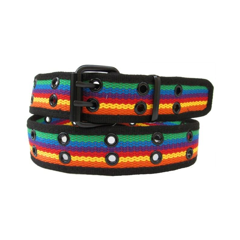 Rainbow Double Rows Metal Grommets Military Canvas Web Belt