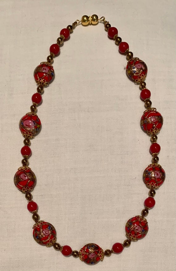 Vintage Red Glass Beaded Necklace Transparent Cherry Red Beads Costume Jewellery Jewelry
