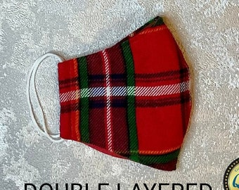 Tartan Check Plaid Gingham Unisex Cotton Cloth Washable Reusable Face Mask, Soft And Breathable