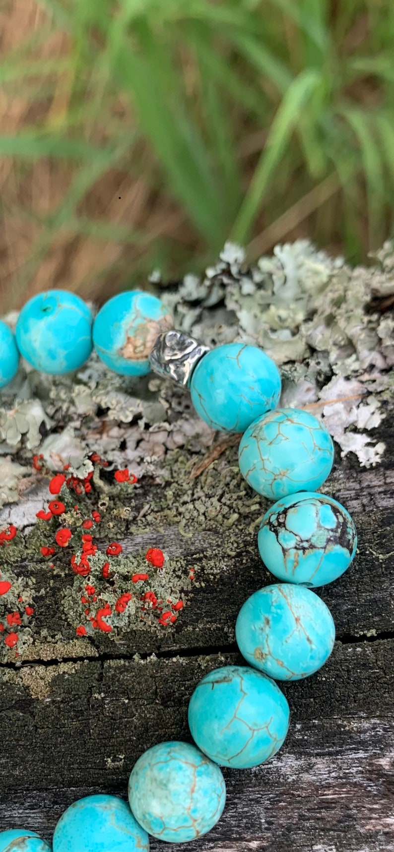 Genuine Turquoise Handmade Gemstone Jewelry Women/'s or Men/'s Bracelet Real Stones Sterling Silver Heart Detail