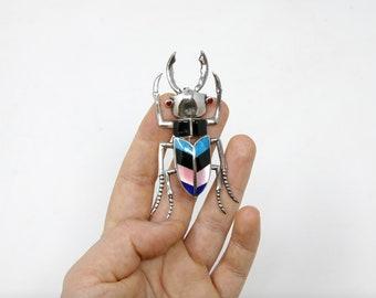 Stag Beetle Brooch - Vintage Sterling Silver Broach - Stamped 925 (Solid Sterling Silver) Unworn