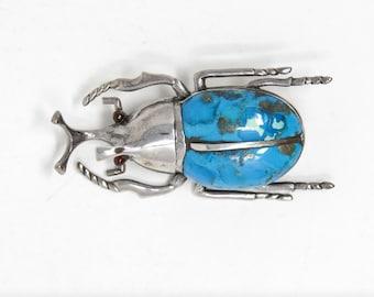 Rhino Beetle Brooch  - Vintage Sterling Silver Broach - Stamped 925 (Solid Sterling Silver) Unworn