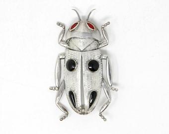 Jewel Beetle Brooch - Vintage Sterling Silver Broach - Stamped 925 (Solid Sterling Silver) Unworn