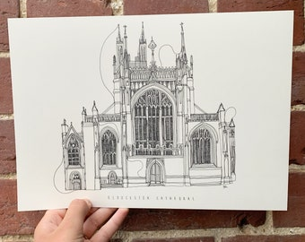 Gloucester Cathedral Hand drawn one line illustration A4 print