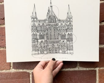 Salisbury Cathedral Hand drawn one line illustration A4 print