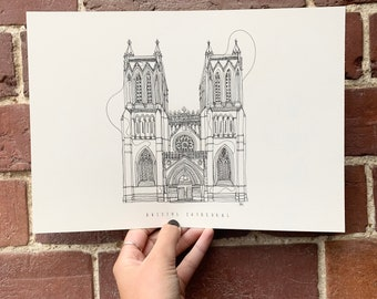 Bristol Cathedral Hand drawn one line illustration A4 print