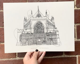 Exeter Cathedral Hand drawn one line illustration A4 print