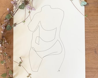 Amor Nude Hand drawn one line illustration A4 print