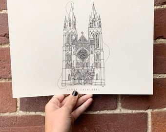 Truro Cathedral Hand drawn one line illustration A4 print