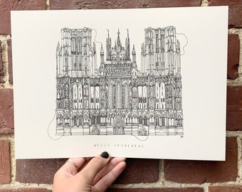 Wells Cathedral Hand drawn one line illustration A4 print