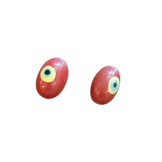 Red Wood Evil Eye Beads 100 pcs