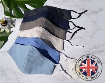Fitted Face Mask UK, 100% Pure Cotton Face Mask, Triple Layers, Adjustable Straps, Custom Sizes Available, Made In UK