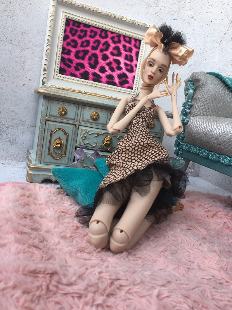 Dress for Litvinovich dolls and doll skinny body skinny doll  bjd vintage fabric clothing for doll  outfit Agatha Linda Manon
