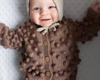 Cashmere Merino Knit Popcorn Cardigan for Babies Kids-Knitted Kids Popcorn Cardigan-Hand Knitted Beige Wool Bubble Cardigan-Baby Cardigan
