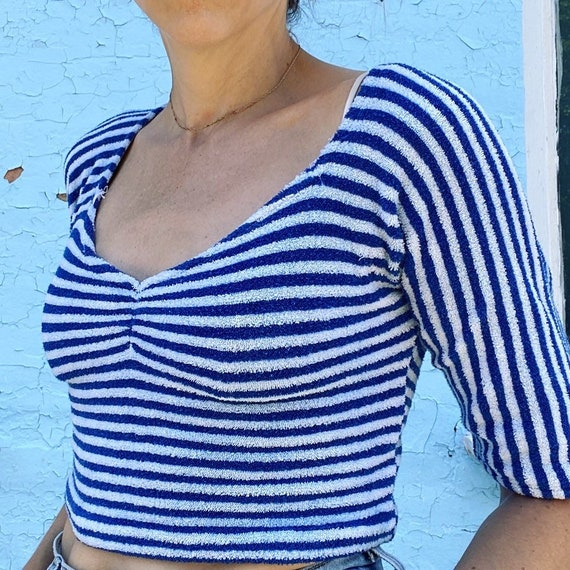 Vintage 1970s Baby Terry Blue & White Striped Crop