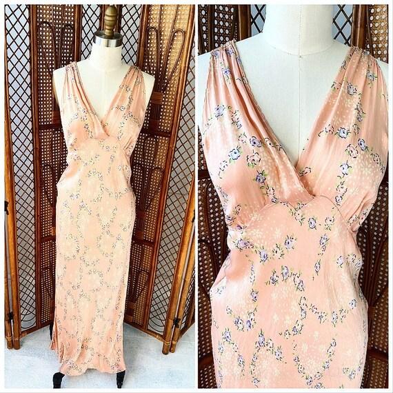 Vintage 1920's Pink Floral Bias Silk Slip Dress