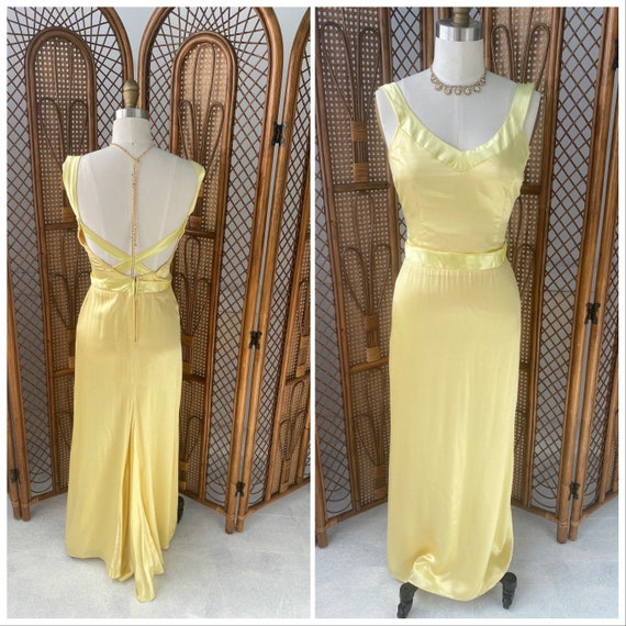 Vintage 1930's Duchess Satin Canary Yellow Dress