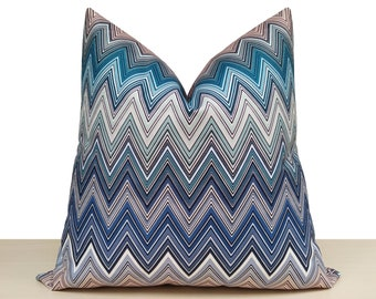 Sham cover.Cotton.Made in USA.Select size Canal Blue white chevron Pillow Cover