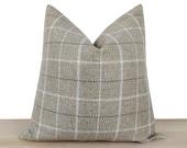 Beige Plaid Pillow Cover, Neutral Linen Pillow Cover, Beige Window Pen Design Upholstery Fabric, Farmhouse Euro Sham Cover All Sizes