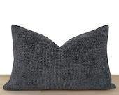 Textured Lumbar Pillow Cover, Boho Dark Gray Thick Soft Pillow Cover, Textured Gray Oblong Pillow Cover, Boho Home Decor